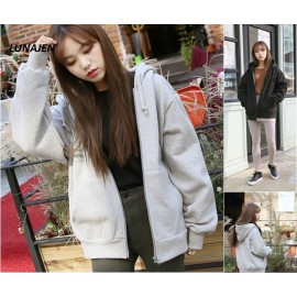 image of * Ready Stock * Basic Plain Hoodie Zipper Jacket