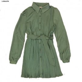 image of * Ready Stock * Green Pleated Long Sleeve Dress
