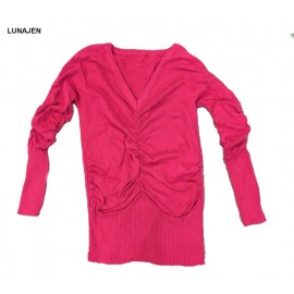 image of * Ready Stock * Pink Ruched Knit Long Sleeve Top