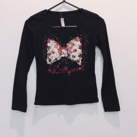 image of PROMO * Ready Stock * Black Bow Sequin Long Sleeve Tee Top