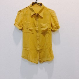 image of * Ready Stock * Mustard Yellow Button Short Sleeve Top