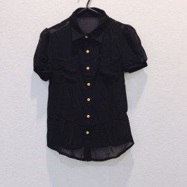 image of * Ready Stock * Black Button Short Sleeve Top