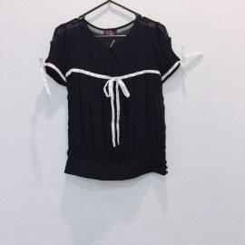image of * Ready Stock * Black White Mono Chiffon Short Sleeve Top