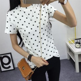 image of * Ready Stock * White Polka Dot Printed Basic Tee T-shirt Top Tee