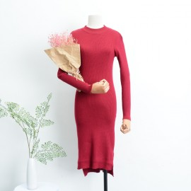 image of * Ready Stock * Red High Collar Side Slit Knit Long Sleeve Midi Dress