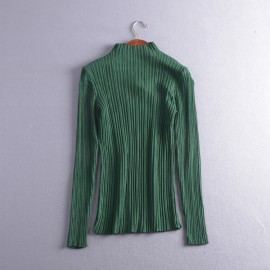 image of * Ready Stock * Ellie High Collar Ribbed Knit Long Sleeve Top