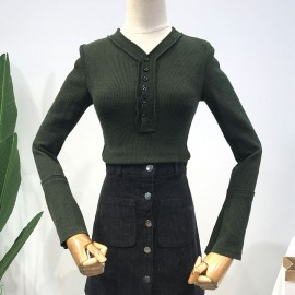 image of * Ready Stock * Dark Green Button Bell Sleeve Ribbed Knit Long Sleeve Top