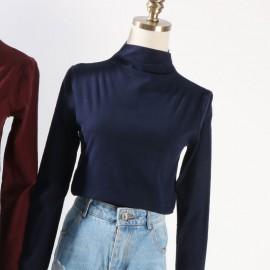 image of * Ready Stock * Annie Basic Minimalist High Collar Long Sleeve Top