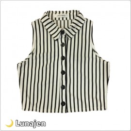 image of * Ready Stock * Black White Stripe Sleeveless Top