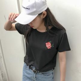 image of * Ready stock * Black Rose Roses Basic Tee T-shirt Top