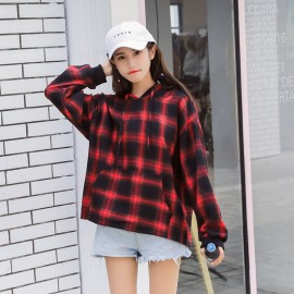 image of * Ready Stock * Red Plaid Hoodie Jumper Oversize Top