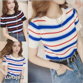 image of * Ready Stock * Retro Stripe Short Sleeve Knit Top