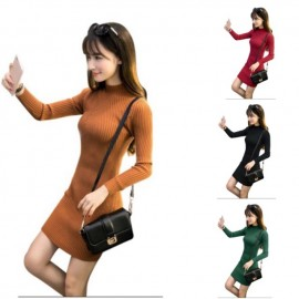 image of * Ready Stock * Angie Funnel Ribbed Knit Long Sleeve Dress