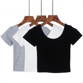 image of Basic Minimal Tee Crop Top Short Sleeve