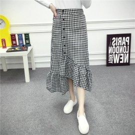 image of * Ready Stock * Black & White  Gingham Checker Maxi Skirt Long Skirt