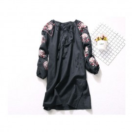 image of * Ready Stock * Bohomien Floral Embroidery Long Sleeve Dress Black