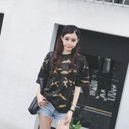 image of * Ready Stock * Camouflage Army Green Printed Basic Tee T-shirt Top