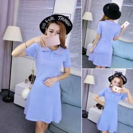 image of * Ready Stock * Baby Blue Collar Knit Dress