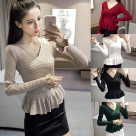 image of Emma V Neck Ruffles Bell Sleeve Knit Long Sleeve Top