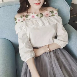 image of * Ready Stock * Floral Embroidery Off Shoulder Top