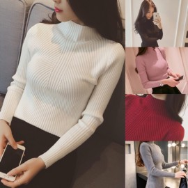 image of * Ready Stock * Elaine High Collar Ribbed Knit Long Sleeve Top