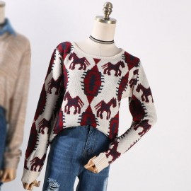 image of * Ready Stock * Horse Printed Long Sleeve Knit Top