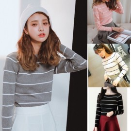 image of * Ready Stock * Stripe Knit Long Sleeve Top