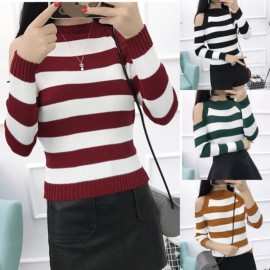 image of * Pre Order * Stripe Knit Cut Out Shoulder Long Sleeve Top
