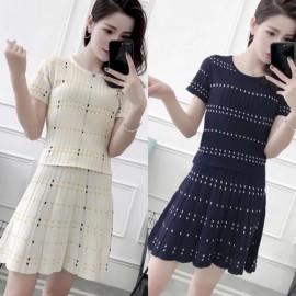 image of * Ready Stock * Stripe Knit Top + Skirt Set Wear