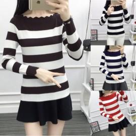 image of * Pre Order * Stripe Knit Wave Off Shoulder Long Sleeve Top