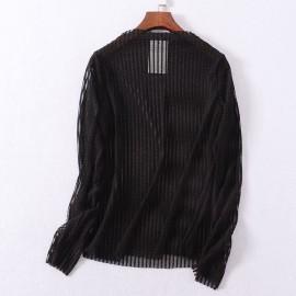 image of * Ready Stock * Stripe Sheer Long Sleeve Top