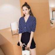 image of * Pre Order * Dark Blue Stripe V Neck 3/4 Sleeve Shirt Top