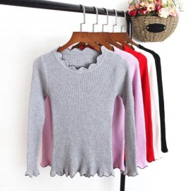image of * Pre Order  * Taylor Wave Collar Pattern Long Sleeve Ribbed Knit Top
