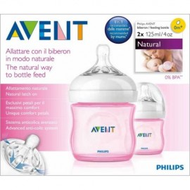 image of Avent Natural Bottle 2x125ml (Pink)