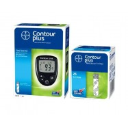 image of Bayer Contour Plus blood glucose monitoring kit with 25 strips