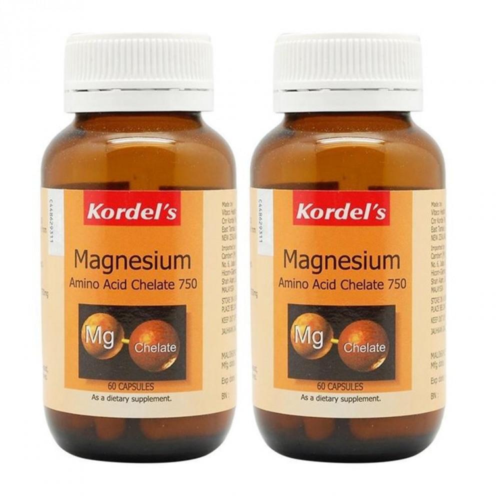 Kordels Magnesium Amino Acid Chelate 750 60 capsulesx2 bottles