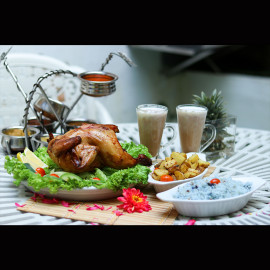 image of Flower Pot BBQ Whole Chicken & Side Dish & Drinks for 3 people