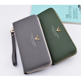 image of Woman Long Purse Wallet Clutch Bag Big Capacity Leather