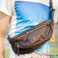 image of Man Chest Bag PU Leather Cross Body Bag