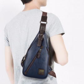 image of PU Leather Men Chest Bag Cross Body