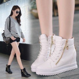 image of PU leather casual sneakers platform shoes