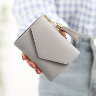 image of tassel fold over purse button short wallet