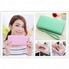 image of Candy Color Multi function Purse Clutch Wristlets (Zip)