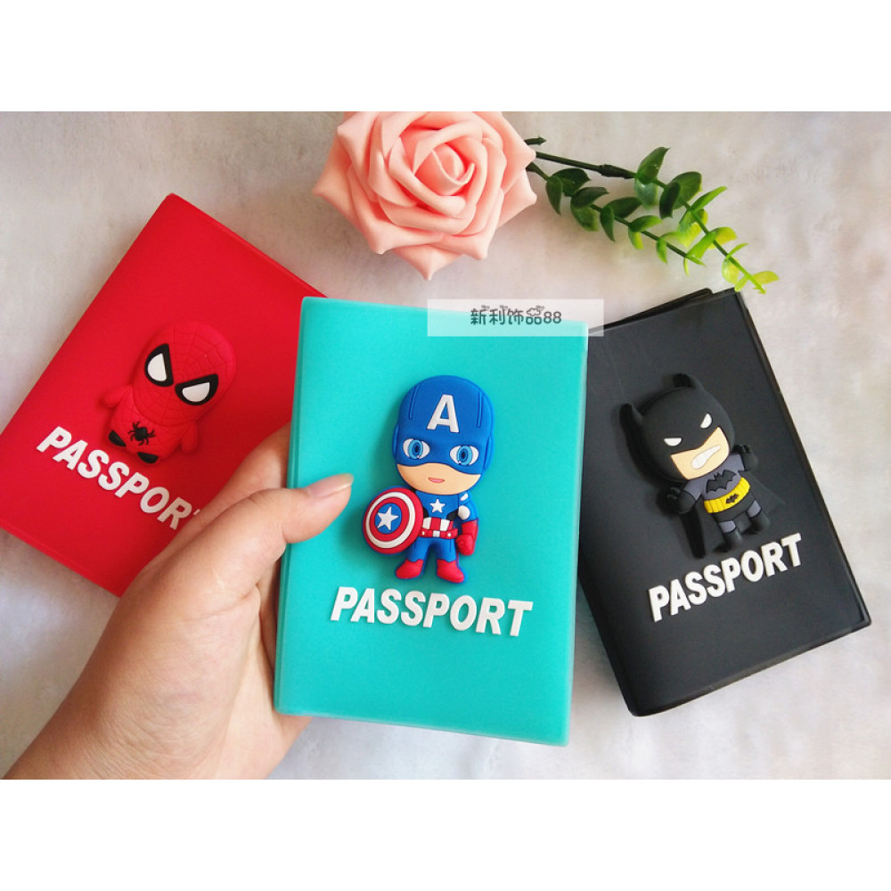Passport holder cover Marvel/DC Hero Captain/Superman/Batman/Deadpool/Spiderman