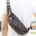 Man Chest Bag PU Leather Cross Body Bag