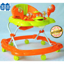 image of BBH 315 Baby Walker Free Stopper And English Song & Best Seller !! (Orange)