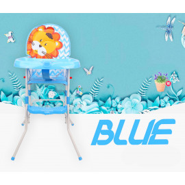 image of 2 in 1 Premium Baby High Chair With Safety Belt With Cushion Best Seller (Blue)