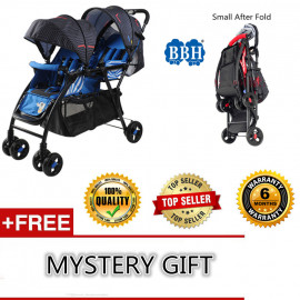 image of BBH One hand Folded Small Size Folded 705 Baby Twin Stroller +Free Mystery Gift