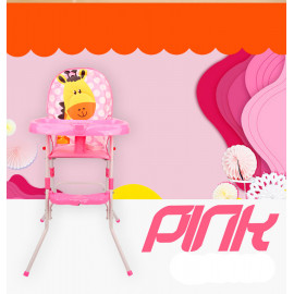 image of 2 in 1 Premium Baby High Chair With Safety Belt With Cushion Best Seller (Pink)