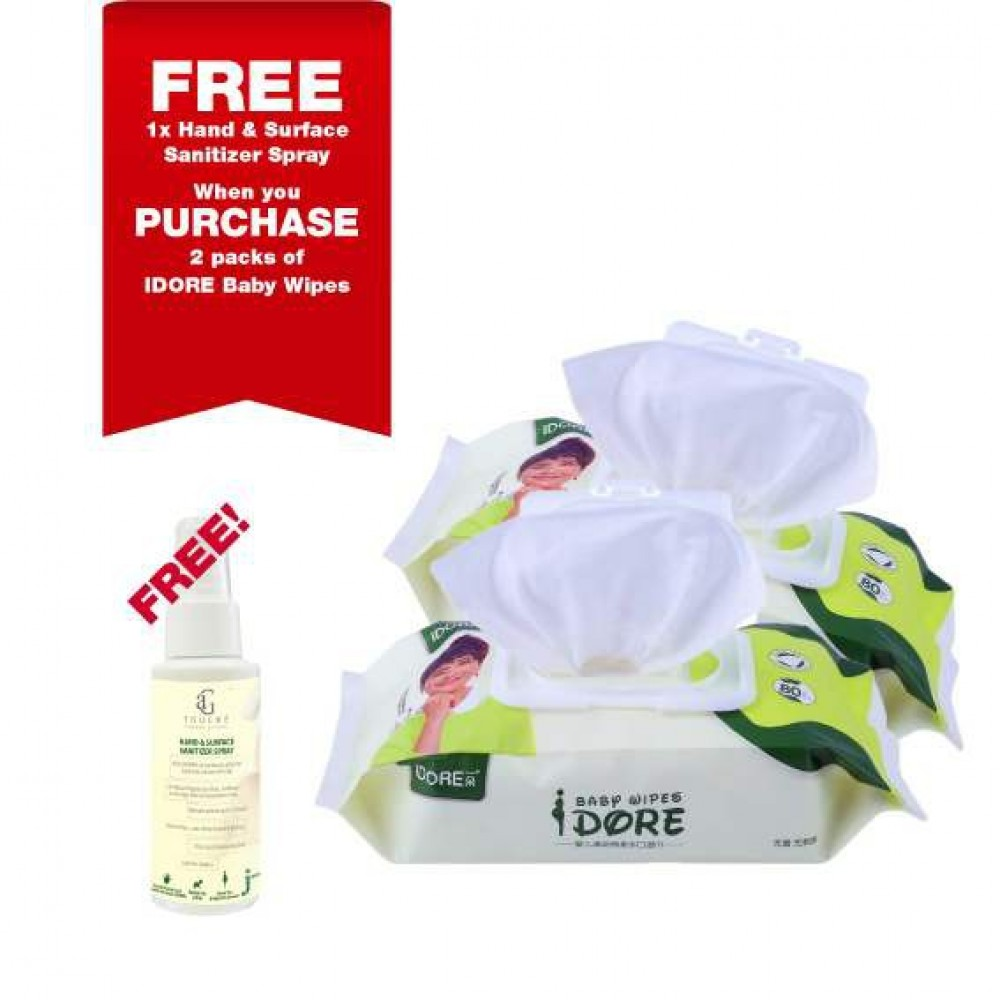 IDORE Premium Baby Wipes 80's [ 2 packs FREE 1 Bottle AG Touche Sanitizer ]